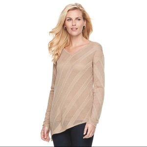 Dana Buchman Asymmetrical Pointelle Sweater Tan